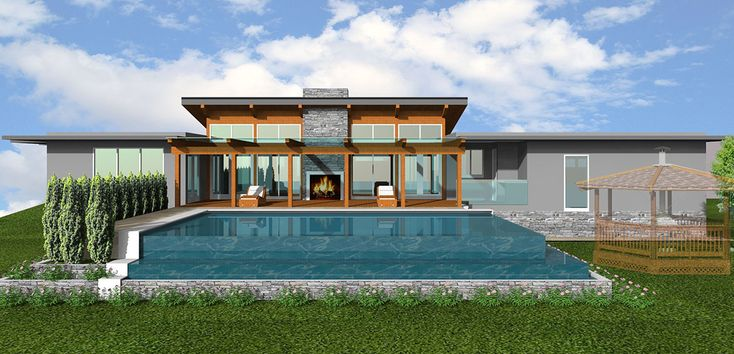 Pool House. When you purchase your dream lot for retirement you are ready to build your dream home on it.  And the dream was: A Post and beam West Coast traditional with extensive amount of glass overlooking large covered patio and infinity pool.  Enjoy your retirement!