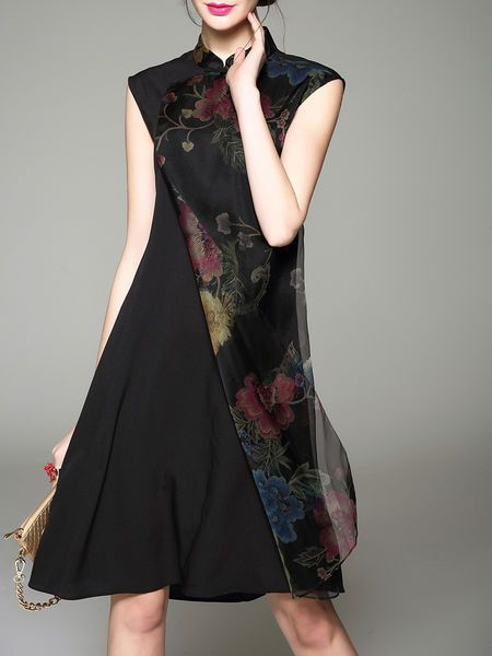 Black Vintage Printed Midi Dress