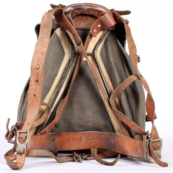 leather and canvas rucksack external frame backpack military backpack from swedish army