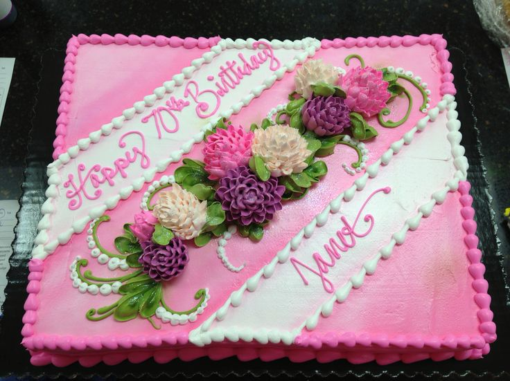 Sheet Cake Decorated With Flowers : 51 best Sheet cakes images on Pinterest Buttercream cake ...