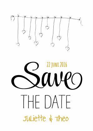 Zwart wit trouwkaart met hartjes slinger en Save the Date in sierletters. De gekleurde teksten zijn aan te passen.   Maak je eerste kaart gratis op www.kaartje2go.nl