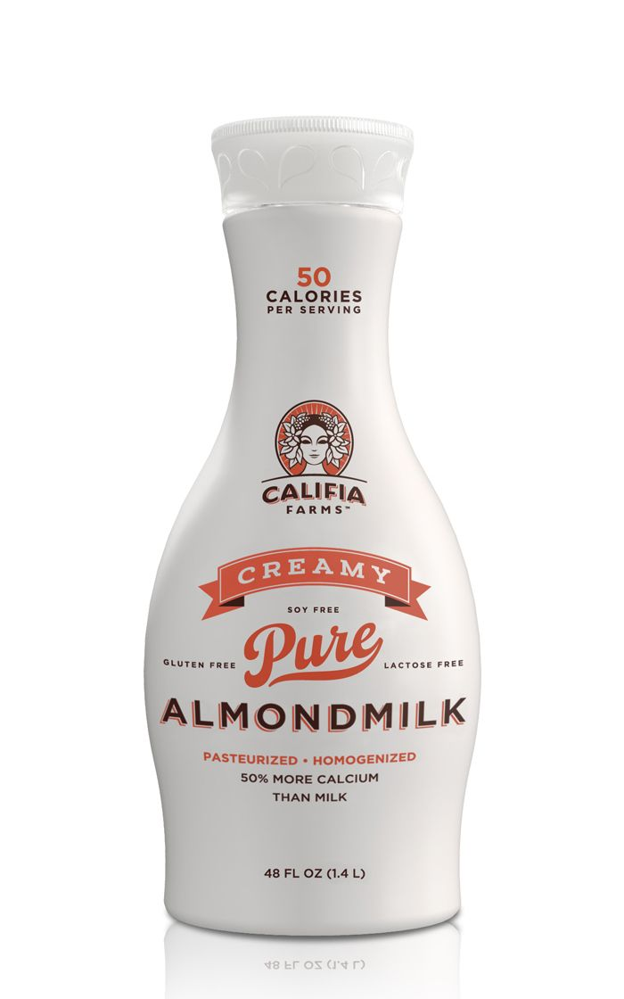 Califia Farms - The Dieline... and now I'm imagining little almonds getting milked like cows.