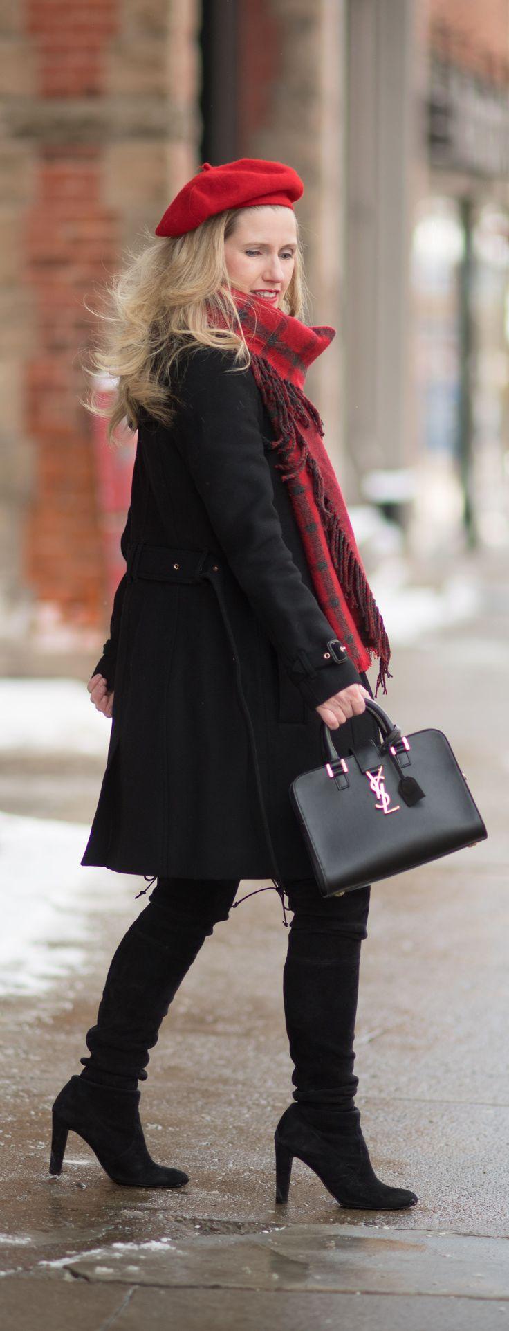Petite Fashion and Style Blog | Fashion for Petite Women | Burberry Gibbsmore Wool Coat | Aqua Pieced Side Fringe Scarf | Stuart Weitzman Hiline Boots | Wool Beret | Winter Wardrobe Essentials #petitefashion #fashionover40 #winterfashion