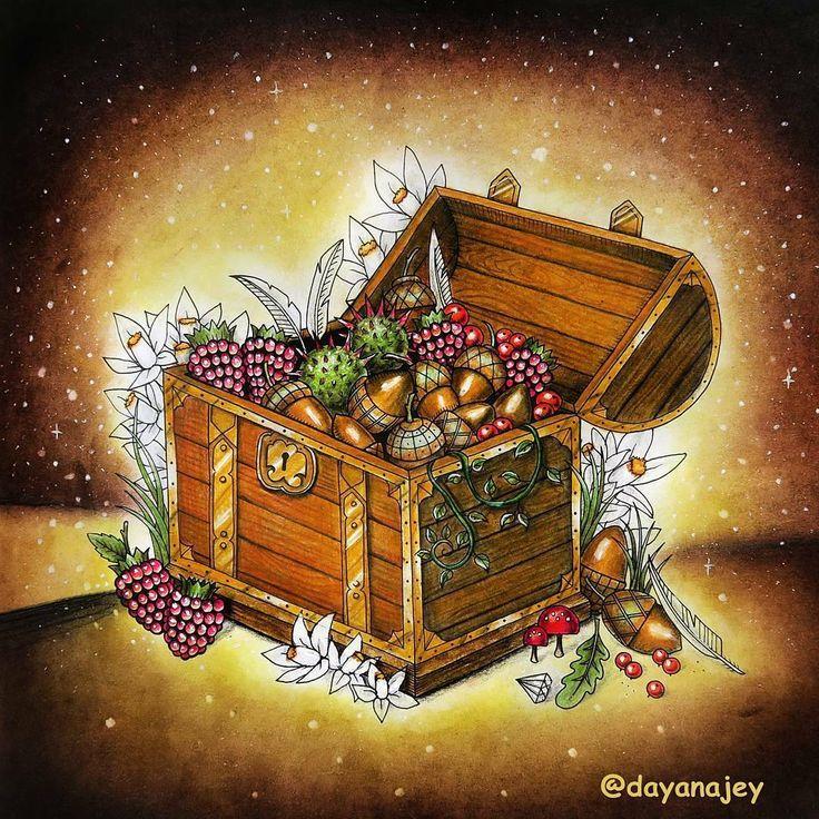 """#show!  use #colorindolivrostop @Regrann from @dayanajey -  The """"Enchanted Forest"""" coloring book Done with Lyra Rembrandt Polycolor pencils and Koh-i-Noor soft pastels / Раскраска """"Зачарованный лес"""". Вчера наконец-то докрасила одну из давно начатых  страничек, на которых у меня не хватало вдохновения И давайте тут про тёмную пастель поговорим, раз уж я её для фона использовала)) Мои правила: Вообще для заливки фона старайтесь избегать темных цветов пастели. С ними сложнее работать, потом..."""