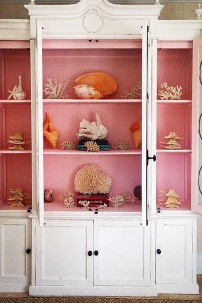 Shell cabinet with pink interior.