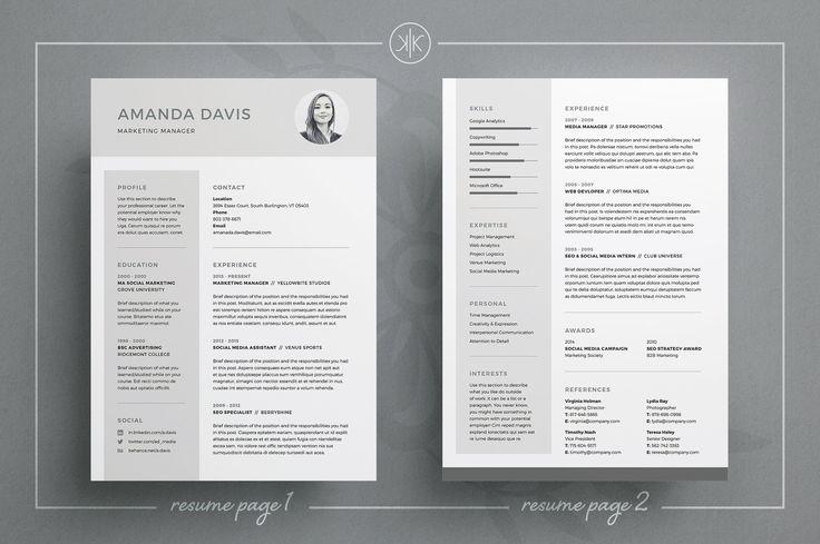 Resume/CV | Amanda by Keke Resume Boutique on @creativemarket #resume #cv #template #job