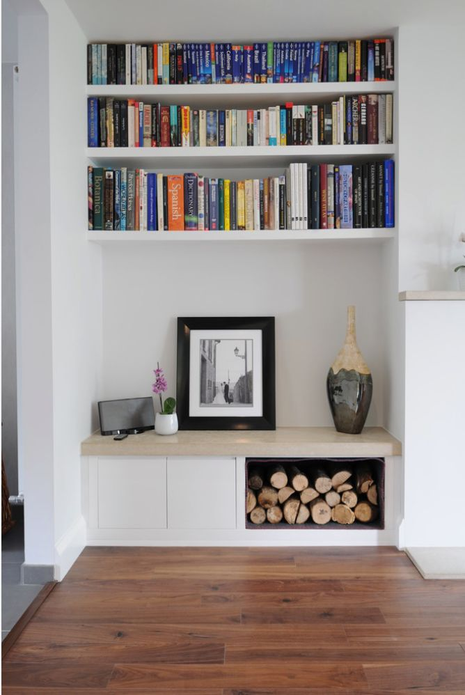 built in tv area with wood for decoration..? http://www.houzz.co.uk/photos/16925428/collection-of-bespoke-fitted-furniture-projects-contemporary-living-room-london