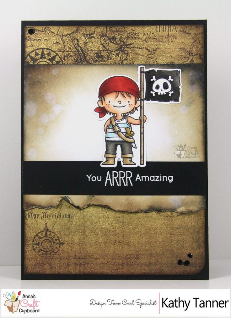 Our talented DT card specialist, Kathy Tanner, is back with another creation using My Favorite Things (MFT) goodies!... this time making a grungey pirate boy card!  AAArrrhhhhh ain't it a beauty!   Kathy details the creative process in making this card, over on Anna's blog...