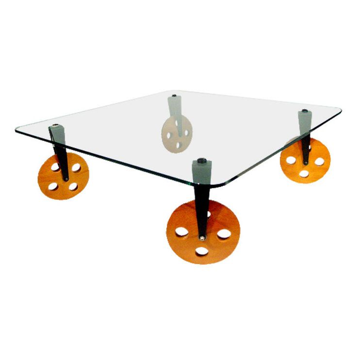 Rare Gae Aulenti Glass Coffee Table On Wheels For Fontana Arte Carpets Mobiles And Cocktails