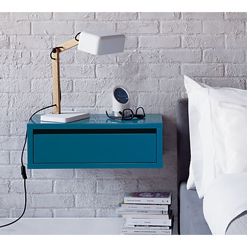Itbox modular nightstand floats brackets into wall to for Wall shelf nightstand