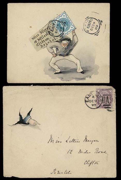 1897 -1900 hand illustrated envelopes to 'Miss Meyer' in Bristol.