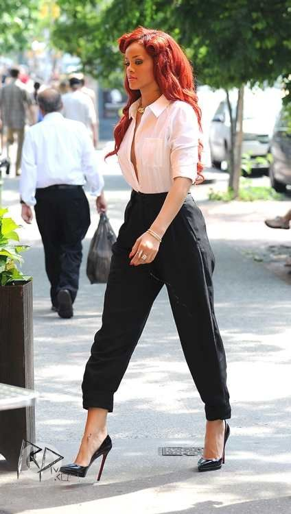 Rihanna wearing Christian Louboutin Pigalle Plato Pumps Alexander Wang Double Box Pleat Pants