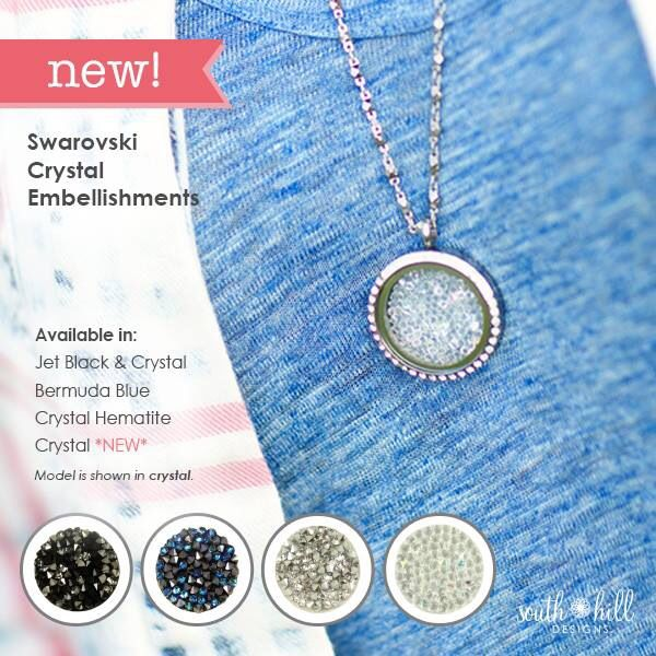 Gorgeous Swarovski crystal locket embellishments from South Hill Designs. Shop at www.southhilldesigns.com/chelseadewald
