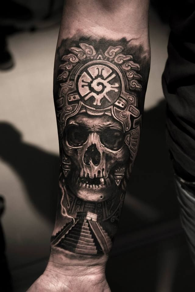 Mayan Skull King Tattoo by Mumia MBtattoos. I'd put a aztec indian face instead of skull