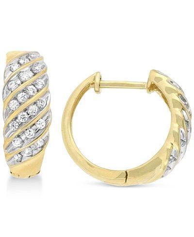 Wrapped in Love Diamond Channel Hoop Earrings (1/2 ct. t.w.) in 10k Gold, Only at Macy's