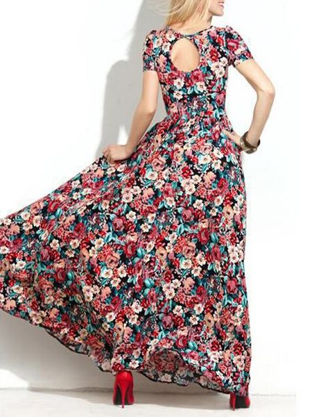 Floral Printed Absorbing Round Neck Maxi Dress