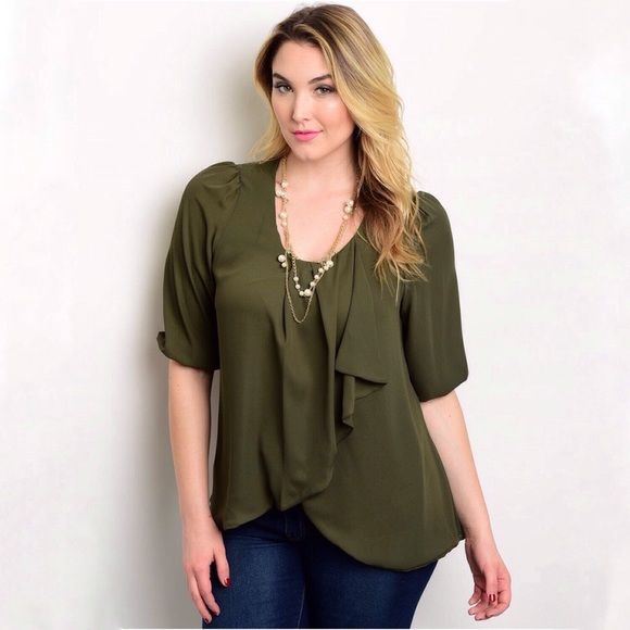 COMING SOONOlive Ruffled Top - Plus Size Olive ruffle top. 100% polyester. Only one available in each size: 1XL, 2XL, & 3XL. Will list at $24.  Not interested in trades. Toffs + Tufts Tops Blouses