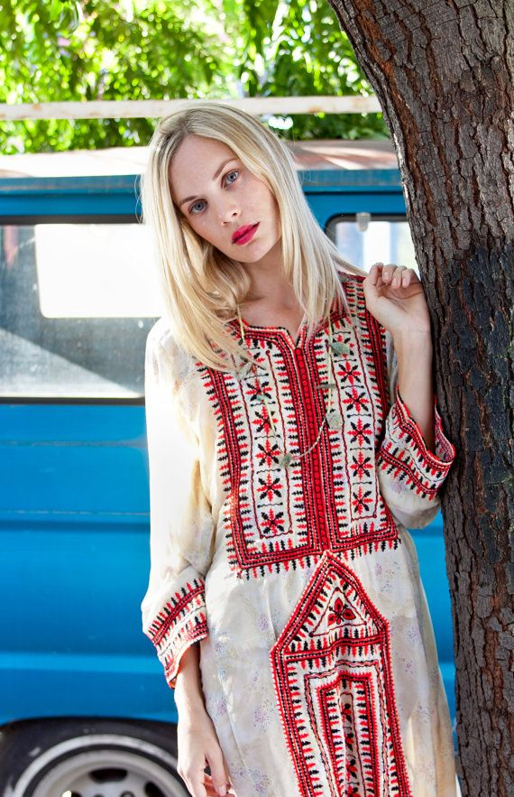 Cream Light Cotton Floral Afghani Dress by TavinShop on Etsy