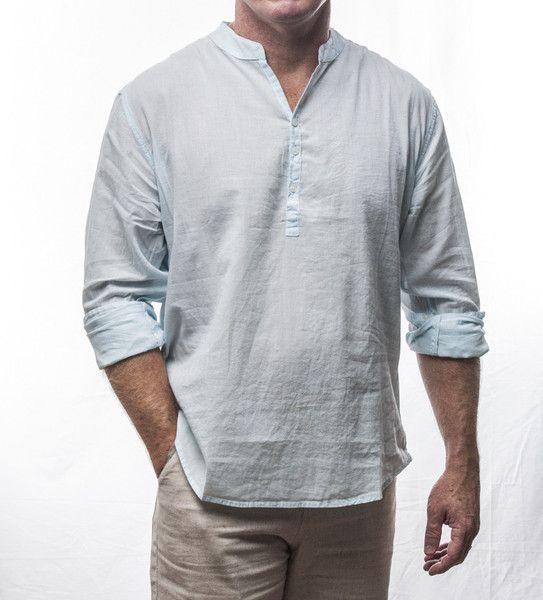 Designer long sleeve 3 button cotton shirt with crew neck collar $69