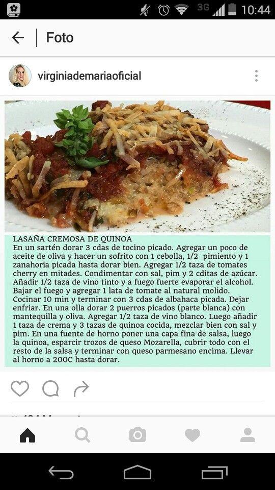 Lasagna de quinoa. Virginia de María