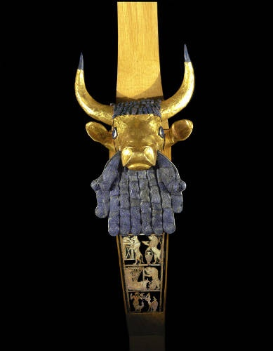"""Bull-headed Lyre"" (Head Height: 35.6 cm; Plaque Height: 33 cm) from the Woolley-coined ""King's Grave"" royal tomb of Private Grave (PG) 789, constructed with gold, silver, lapis lazuli, shell, bitumen and wood, ca 2550 BCE at Ur."