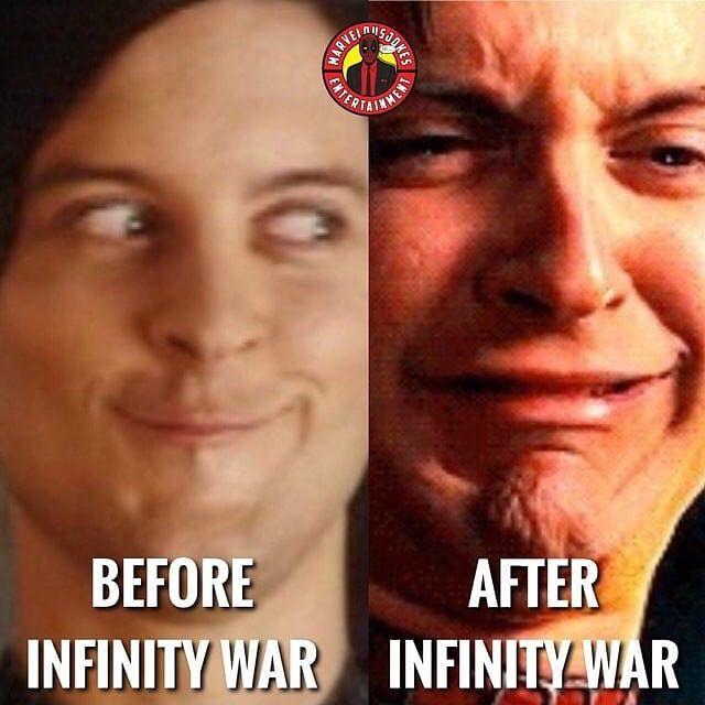 Marveluniverse Spiderman3 Spiderman Marvelcomics Marvel Comicbook Movie Memes Before After Infinitywar Meme Comic Books Emotions Infinity War