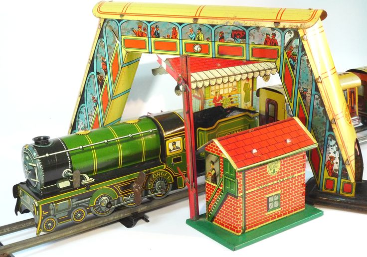 Brimtoy Train Set And Accessories Tin Toy Trains
