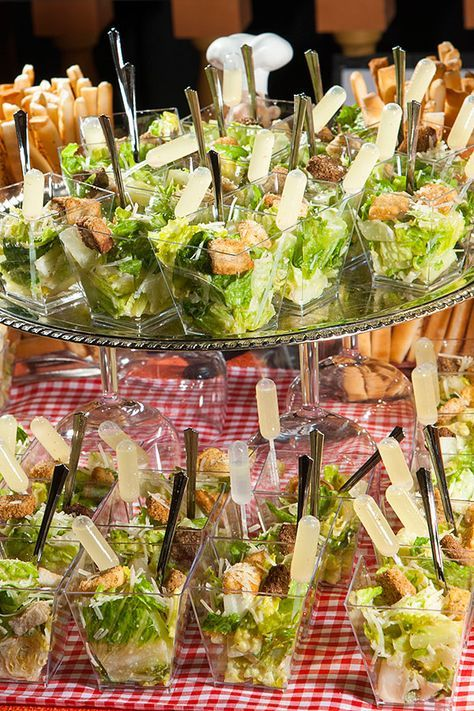 Delicious and Fresh Caesar Salad Shooters by #RidgewellsCatering (c/o Imigination Photography)