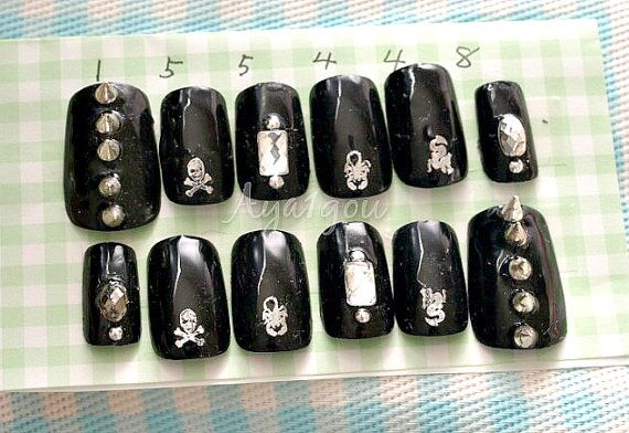 Black nails stud nails spike nails rock nail cool nail by Aya1gou
