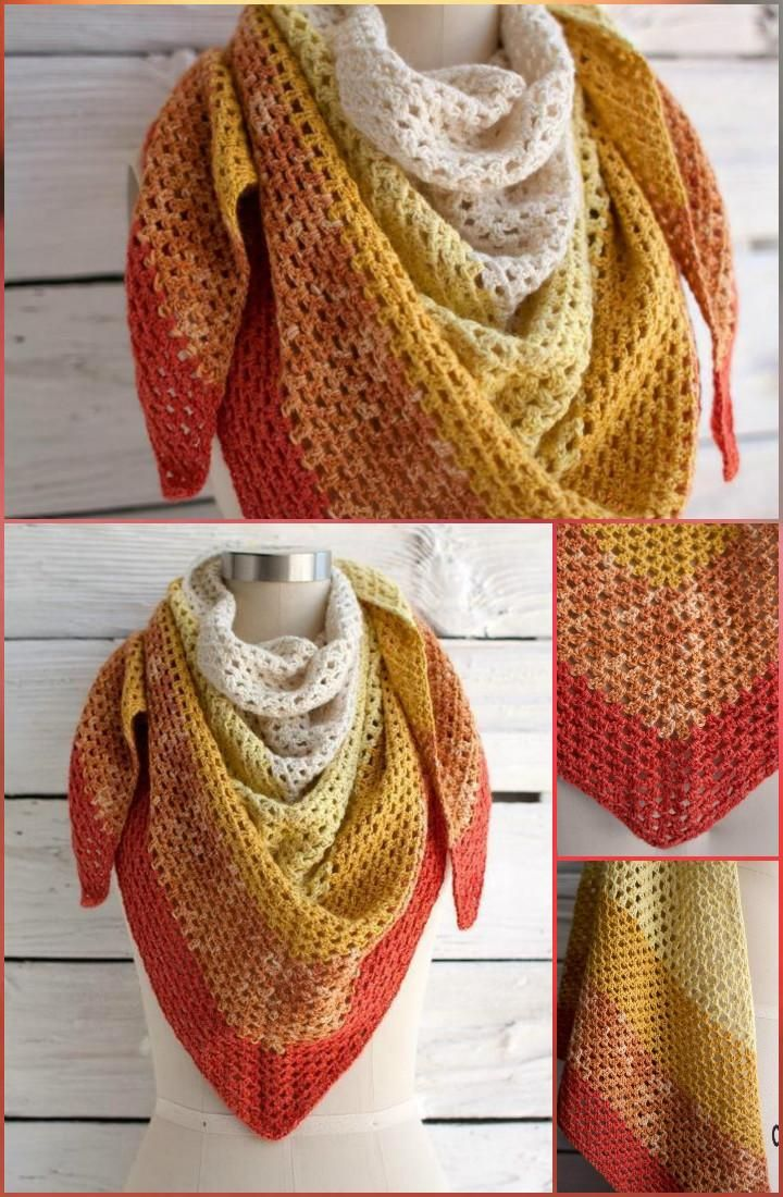 Crochet Augusta Shawl by Andrea Mules - 100 Free Crochet Shawl Patterns - Free Crochet Patterns - DIY & Crafts