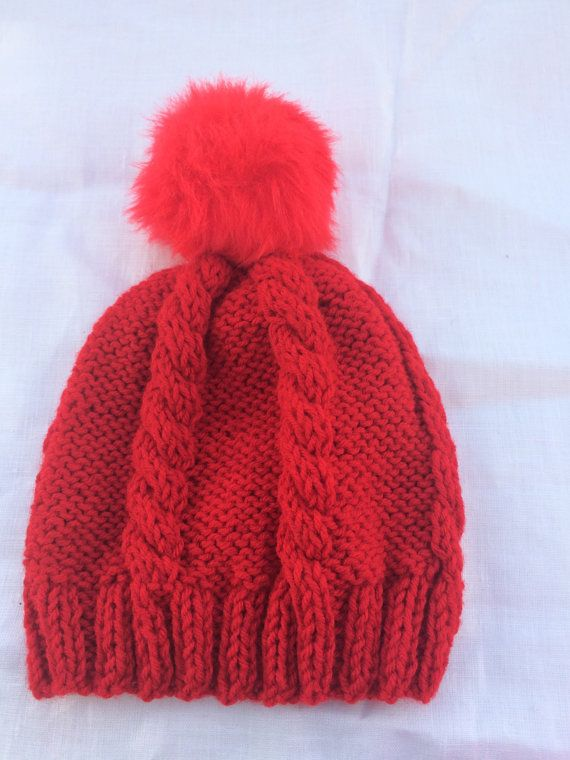 25%OFF Red Pom Pom hand knitted cable hat Valentine by KnitSew4U