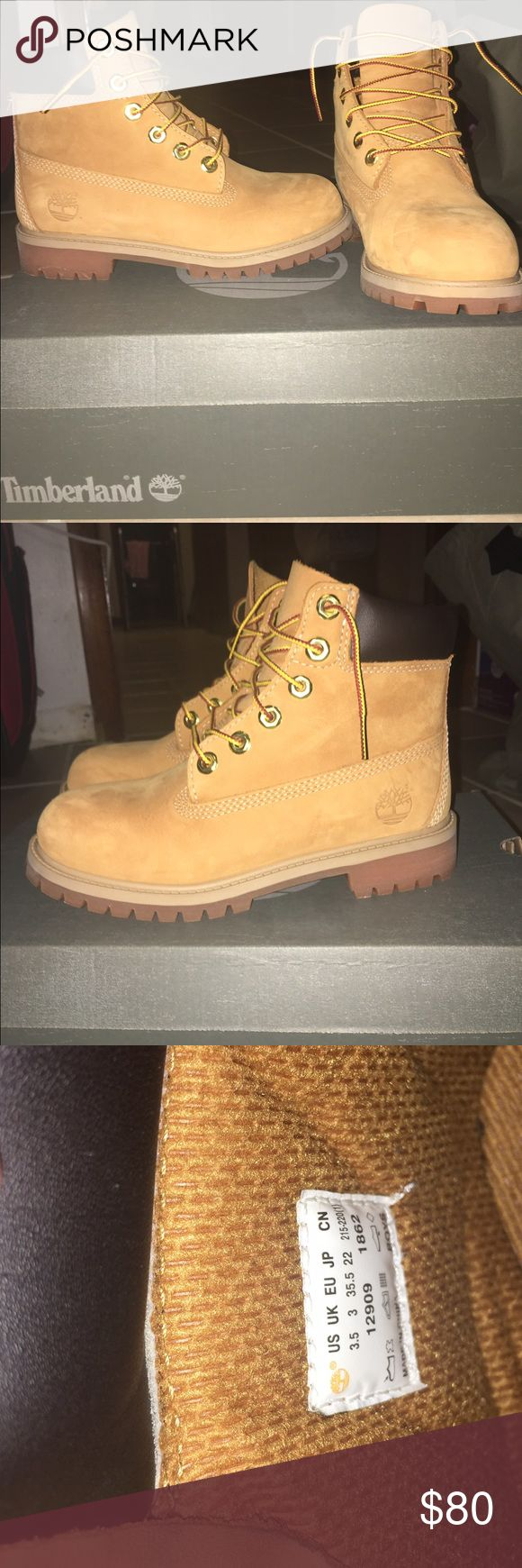 Juniors Timberland Boots! Juniors Timberland Boots! Color: Wheat Nubuck! Size 3.5! I am a women's 6 and these fit a half size small! Still in mint condition! Only worn a handful of times! Was never sprayed with the waterproof spray! NO TRADES! Timberland Shoes Winter & Rain Boots