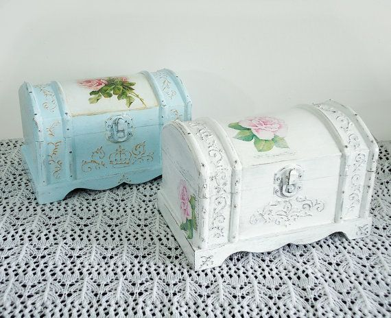 Hand Decorated Shabby Сhic Jewelry Trinkets Box by JoliefleurDeco, $39.00