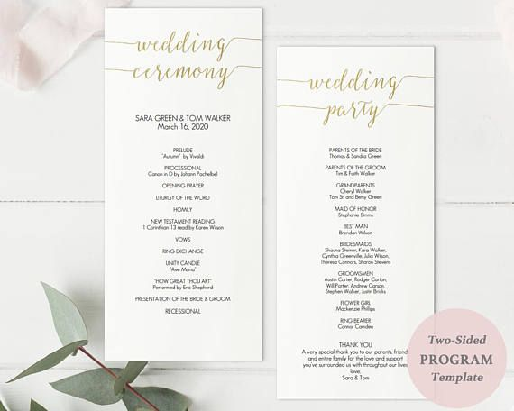 Printable Gold Tall Wedding Program Template Double Sided 4x9 Card Faux Foil Detailing Your High Resolution Editable Pdf And