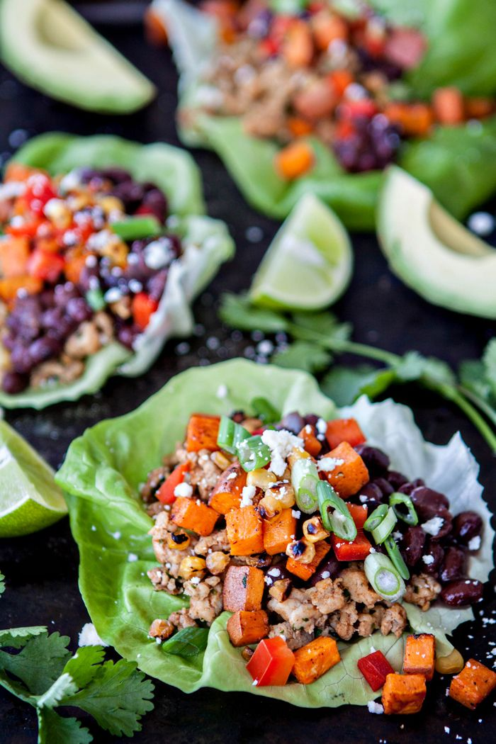 Black Bean, Sweet Potato and Chicken Lettuce Wraps are perfect for satisfying your next Taco Tuesday craving while helping you stick with the inevitable New Year's Resolution to eat healthier.   Black Bean Sweet Potato Chicken Lettuce Wrap Taco / Healthy Tacos / Mexican Lettuce Wrap  @BushsBeans @goodlifeeats www.goodlifeeats.com