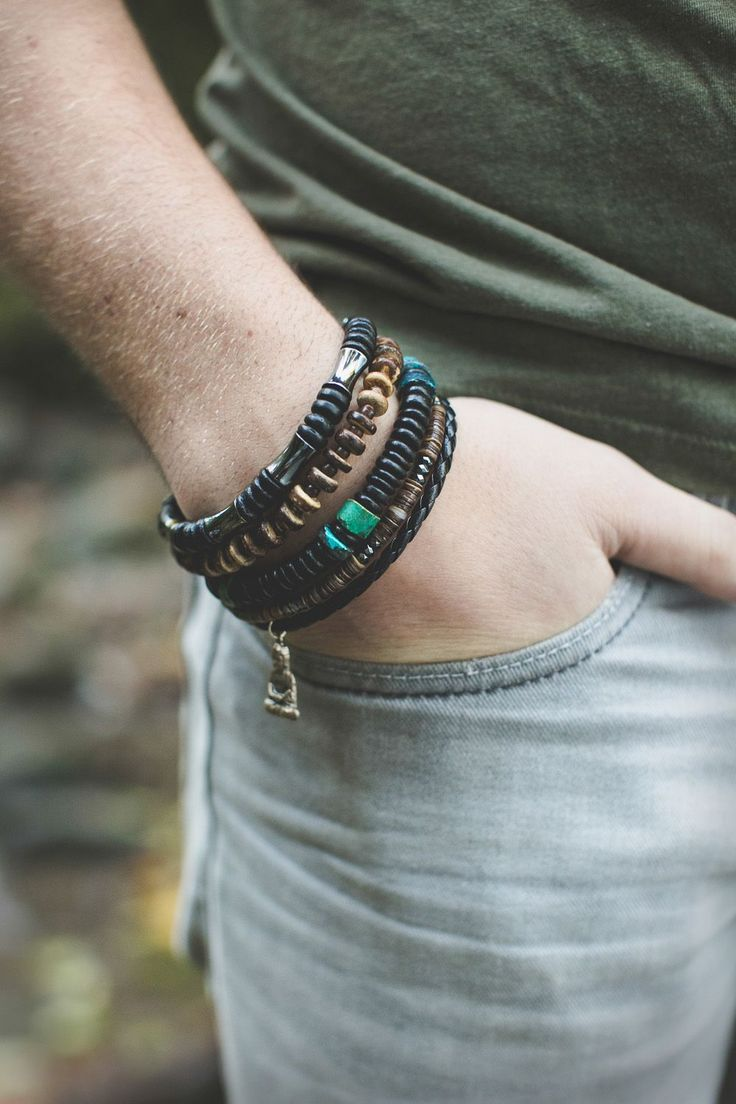 Mens bracelet style inspiration - Mens jewelry designer Jenny Hoople of Authentic Arts creates natural jewelry inspired by nature. Mens beaded necklaces and bracelets. http://jennyhoople.com/