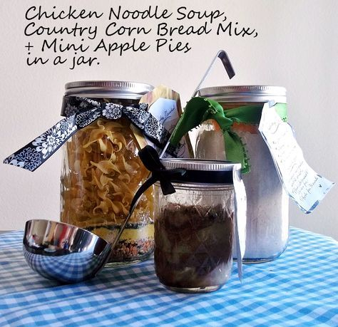 Meals In A Jar ~ Chicken Noodle Soup In a Jar, Cornbread Mix in a Jar and Mini Apple Pies in a Jar ~ Printable Recipes Included #shop #ChooseSmart