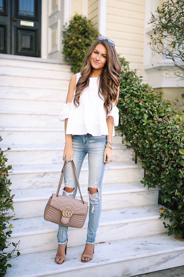 white cold shoulder top, skinny jeans, gucci bag - perfect spring casual outfit or spring date outfit