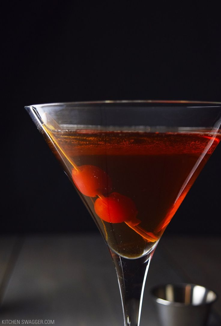 Manhattan recipe made with bourbon, sweet vermouth, and bitters.