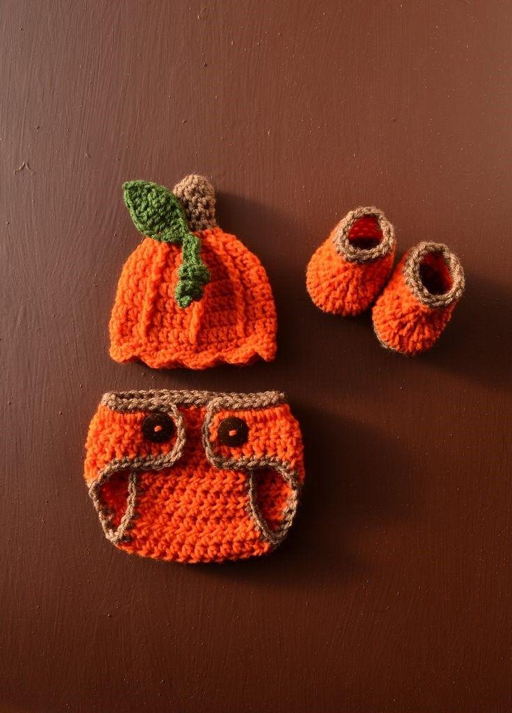 Crochet Halloween Costume Pumpkin Hat and Diaper Cover Set Baby Pumpkin Prop Set Newborn Hat Set, Photo Prop Baby Hat