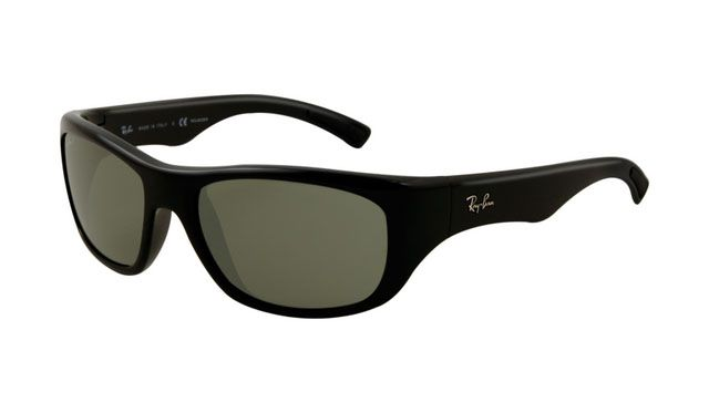 $19.88! #Ray #Ban #Sunglasses Ray Ban RB4177 Sunglasses Shiny Black Frame Light Green Polarize