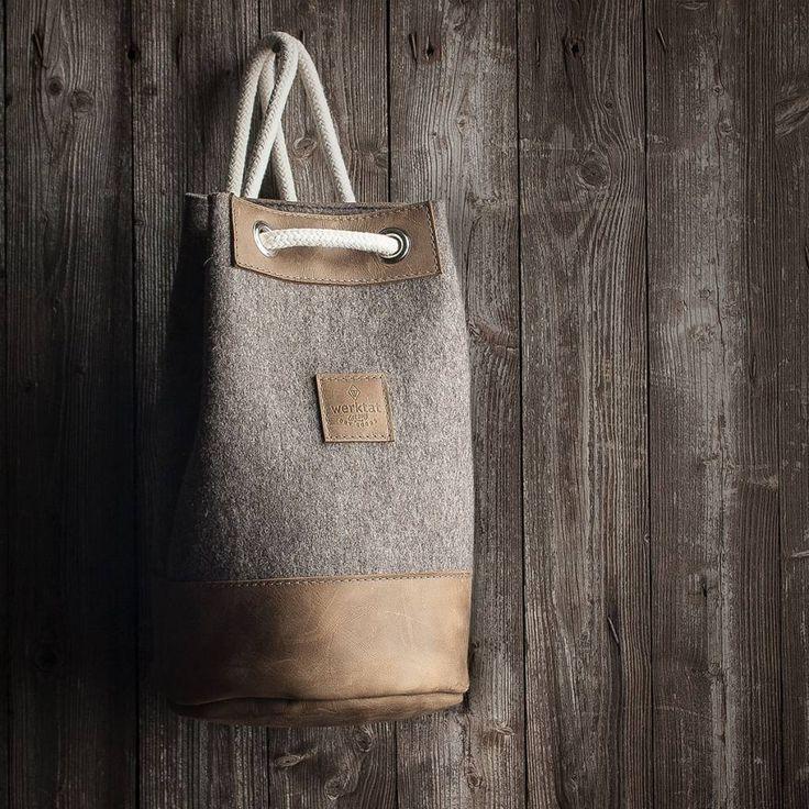 """werktat Matchsack aus Filz und Leder """"hazel"""", Sportasche, Filztasche, Ledertasche, Meerwerk, der kleine Seesack #Seesack #Matchsack #Sportasche Rucksack #Leder #Filz #Filztasche #Ledertasche #duffel #bag #felt #sports #match #gym #backpack kit #leather #duffelbag, #sportsbag #matchbag #gymbag #kitbag #kit #man #men #mens #woman #women"""