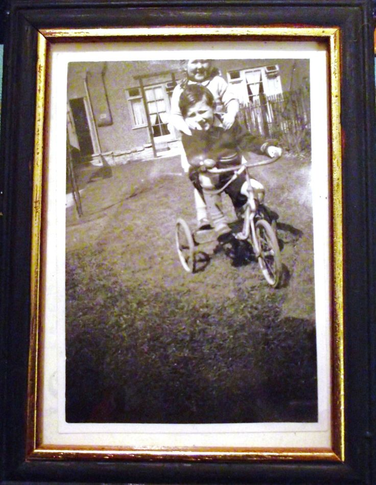 Pauline and I on trike - expertly shot by mother. c.1951.