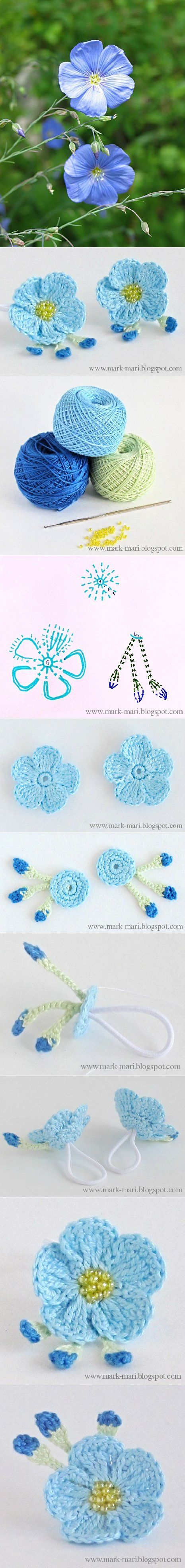 Crochet Flax-Blossoms...all kinds of pretty flowers with diagrams for hair bands!! These make pretty flower rings!!