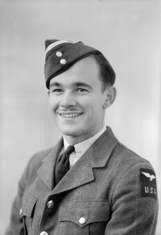 Almost half of the images scanned so far are portraits of individual airmen, such as this one of J. L. Fling. His shoulder badge indicates he was an American volunteer who came to Canada to join up before the USA entered the war in 1941.