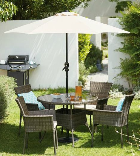 mali 4 seater round rattan effect garden furniture set home delivery