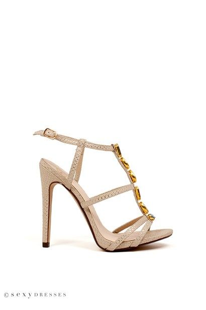 """Womens Snakeskin 5"""" Nude Strappy High Heels with Multicolored Jewels"""