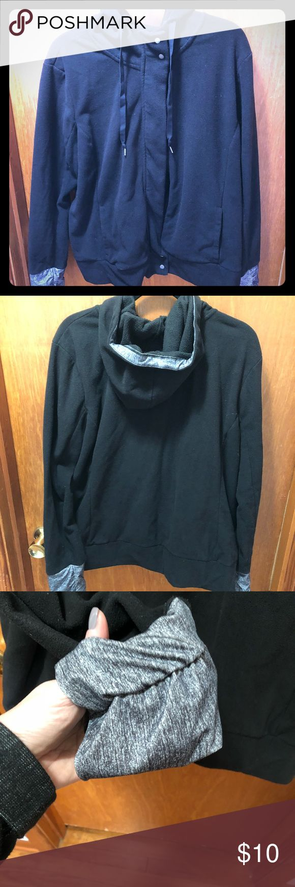 Old Navy Fleece zip hoodie Old Navy Fleece Zip and snap hoodie in black with grey hand covers and grey accent in good. Size xxl. Great for before and after gym or outdoors in mild temps. Old Navy Jackets & Coats