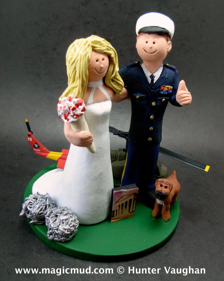 Dress Blues Wedding Cake Topper, Military Wedding Anniversary CakeTopper,    Army, Soldier's, Military, Air Force, Navy Wedding Cake Toppers custom created for you! Perfect for the marriage of an Army Marine Groom and his Bride! Simply email or call toll free with your own info and pictures of yourselves, and we will sculpt for you a treasured memory from your wedding!    $235 #magicmud 1 800 231 9814 www.magicmud.com