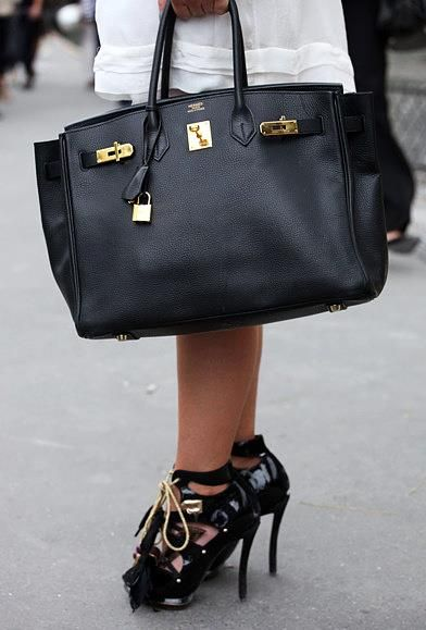 Black Big Bag with gold by Hermes and those shoes...